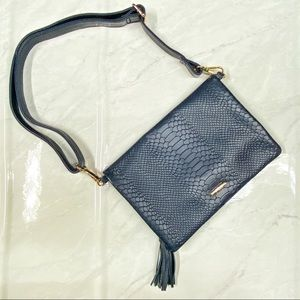 Gigi New York Navy Blue Python Convertible Clutch